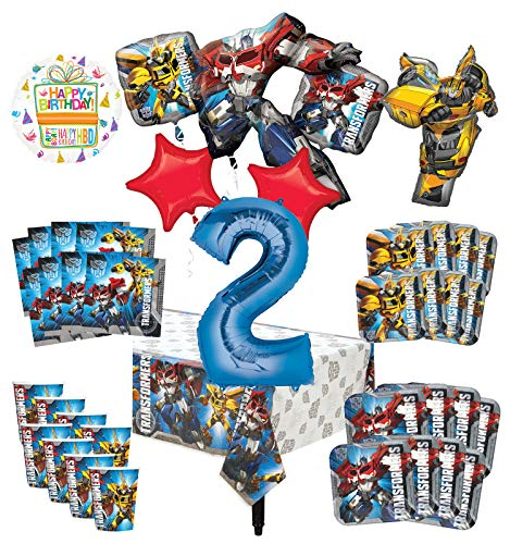 Transformers 2nd Birthday Party Supplies 8 Guest Decoration Kit and Balloon Bouquet (Ounce Transformers Cups 9)
