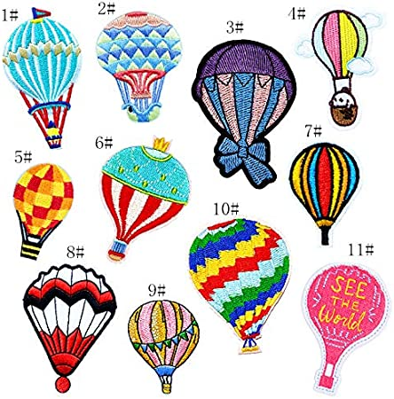 HOT FIX TRANSFER COLORFUL HOT AIR BALLOONS RHINESTONE IRON ON APPLIQUE