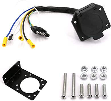 CARROFIX 7 Way Trailer Light Connector Socket 7 Wire Harness Electrical Quick Converter with Mounting Bracket