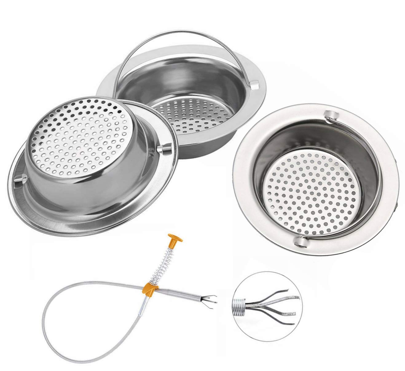 "4PCS Sink drain Strainer, Premium Stainless Steel Kitchen Sink Garbage Disposal Stopper Mesh Basket,Large Wide Diameter 4.33"", Handheld Trash Strainer,Food & Hair Catcher Colander"