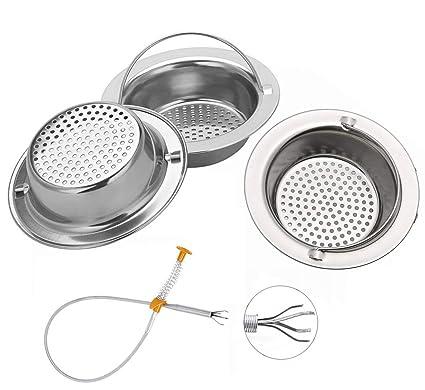 4PCS Sink drain Strainer, Premium Stainless Steel Kitchen Sink Garbage  Disposal Stopper Mesh Basket,Large Wide Diameter 4.33\