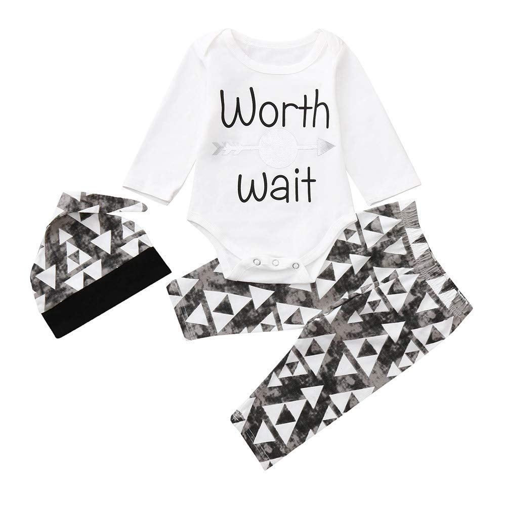 Matoen Newborn Infant Baby Letter Boy Romper Worth Wait Tops Pants Hat 3pcs