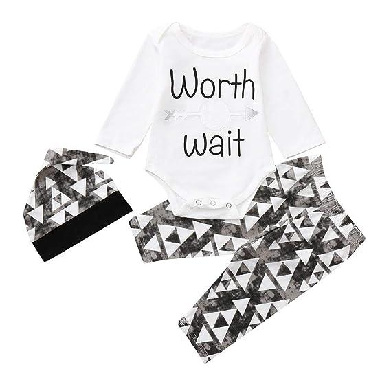 ❤ Conjunto Romper para bebé 0-24M, otoño Invierno recién Nacido Infantil Baby Boy Carta Mameluco Tops Pantalones Largos Trajes de Sombreros Set Ropa ...