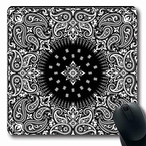 Ahawoso Mousepad Oblong 7.9x9.8 Inches Abstract Pattern Paisley Bandana Floral Scarf Authentic Band Boteh Office Computer Laptop Notebook Mouse Pad,Non-Slip Rubber