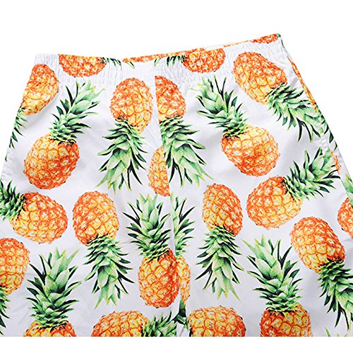 Travail Court Jaune Mens Shorts Pantalon Hommes Casual Ananas Plage Imprimé Wudube PU0Xvq0