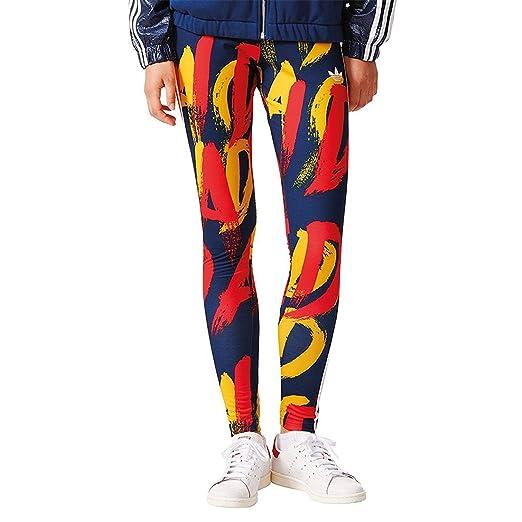 adidas Originals Leggings in Blau und Orange mit drei