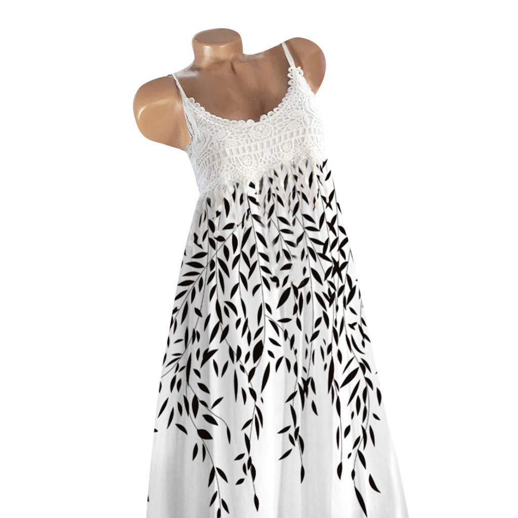 COOKI Women Dresses Summer Lace Sundress Sleeveless Floral Printed Beach Mini Dress Boho Tunic T-Shirt Dress Tops White