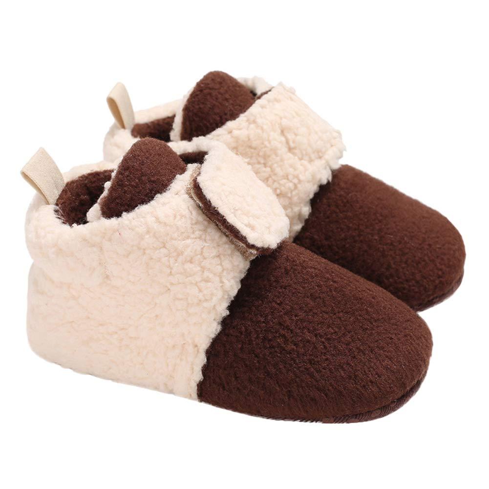 Alamana Stylish Magic Tape Baby Infant Soft Sole Warm Anti-Slip Prewalker Toddler Shoes Coffee 11cm