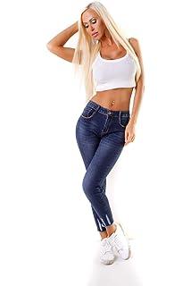 126707b2b268 OSAB-Fashion 4434 Lange Damen Jeans Hose Eng Fransen Damenjeans Röhrenjeans