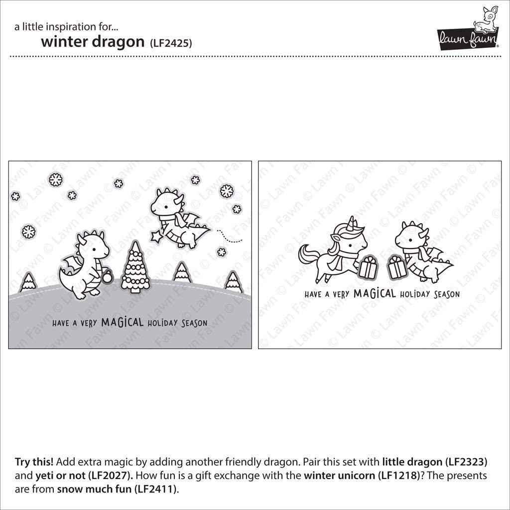 Lawn Fawn Winter Dragon 2x3 Clear Stamp Set and Coordinating Die Set Bundle of 2 Items LF2525, LF2526