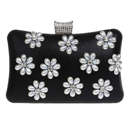 Bolso Mujer Noche Bolsas Fiesta Boda Carteras Mano Cadena Embrague Perlas Negro