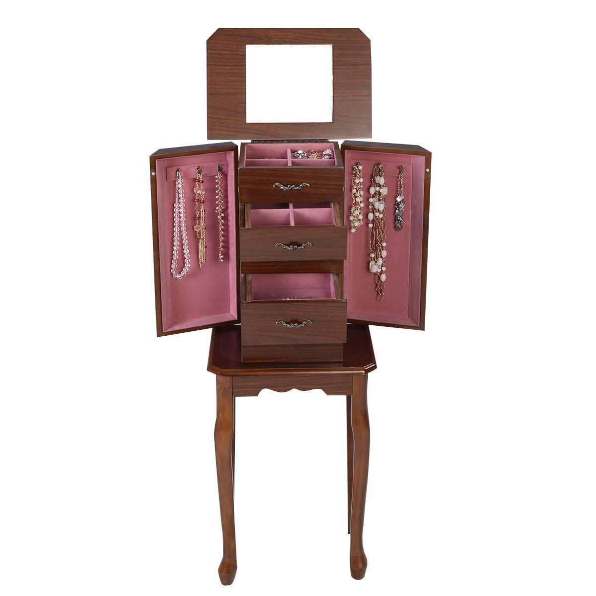 Aromzen Standing Jewelry Cabinet Wood Armoire Box Storage Chest Organizer Necklace New