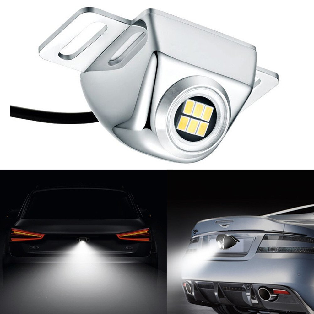 LUYED Super Bright 3020 6-EX LED backup Camera illumination system.NEWEST PATENT Auxiliary Reverse Light Enhances Backup camera performance at night.Solid state chrome SMD (Surface Mount Device)
