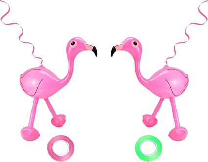 Party Explosions Tropical Pink Flamingo Decorative Figurine Set of 2