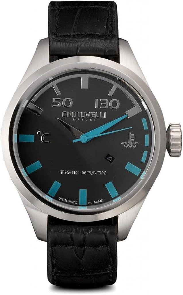 Chotovelli Integrale Men's Pilot Watch Dashboard Display Croco Italian Leather 5400