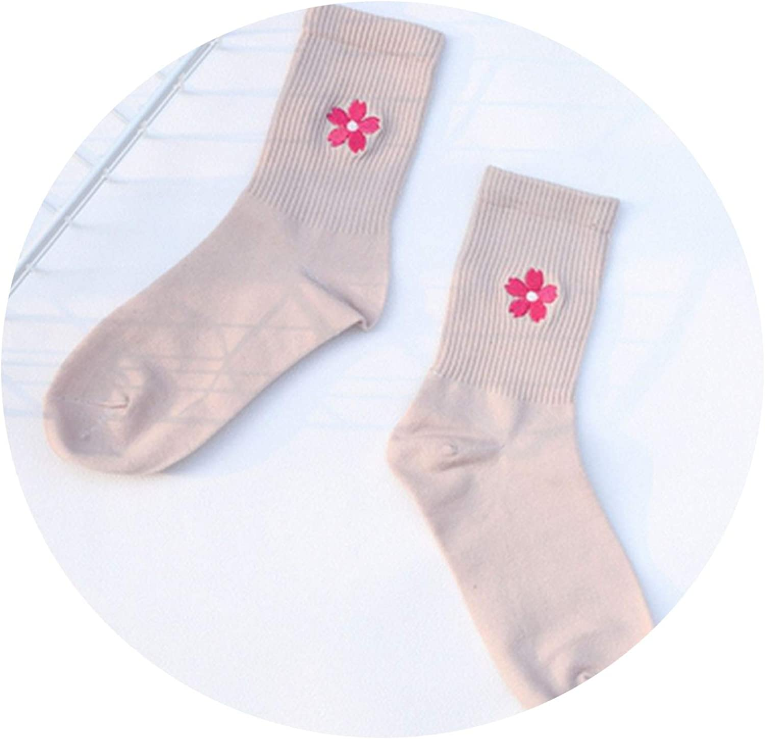 Cherry Blossom Embroidery Cotton Women Socks Sakura Flower Socks Summer Cute Soft Cozy Sock