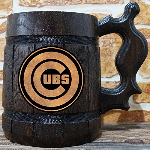 Amazon.com: Chicago Cubs Beer Mug, Baseball Wooden Beer Stein, Sport Gift, Personalized Beer Stein, Chicago Cubs Tankard, Custom Gift for Men, Gift for Him: ...