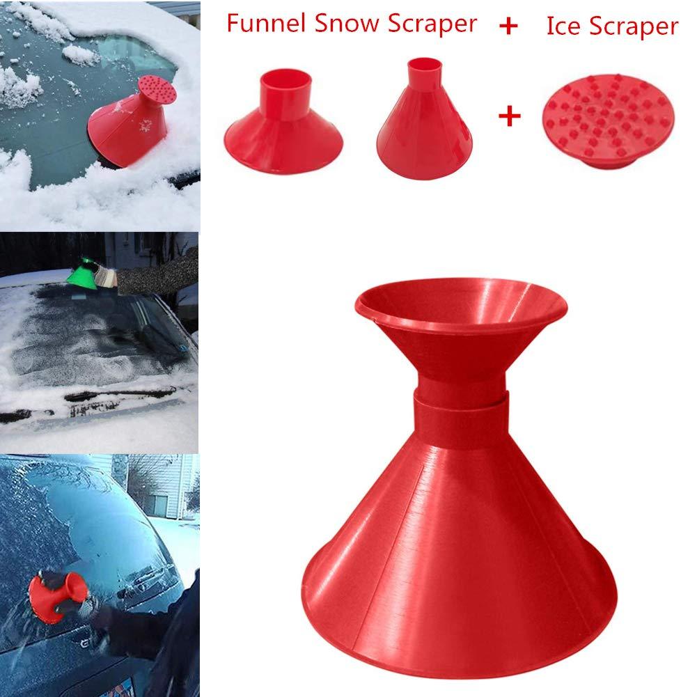 Myfreed Scrape A Round Ice Scraper Car Windshield Snow Scraper Magic Funnel Snow Removal Tool Cone-Shaped Windshield Ice Scraper