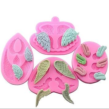 Molde de silicona con forma de alas de ángel para fondant, molde para decoración de