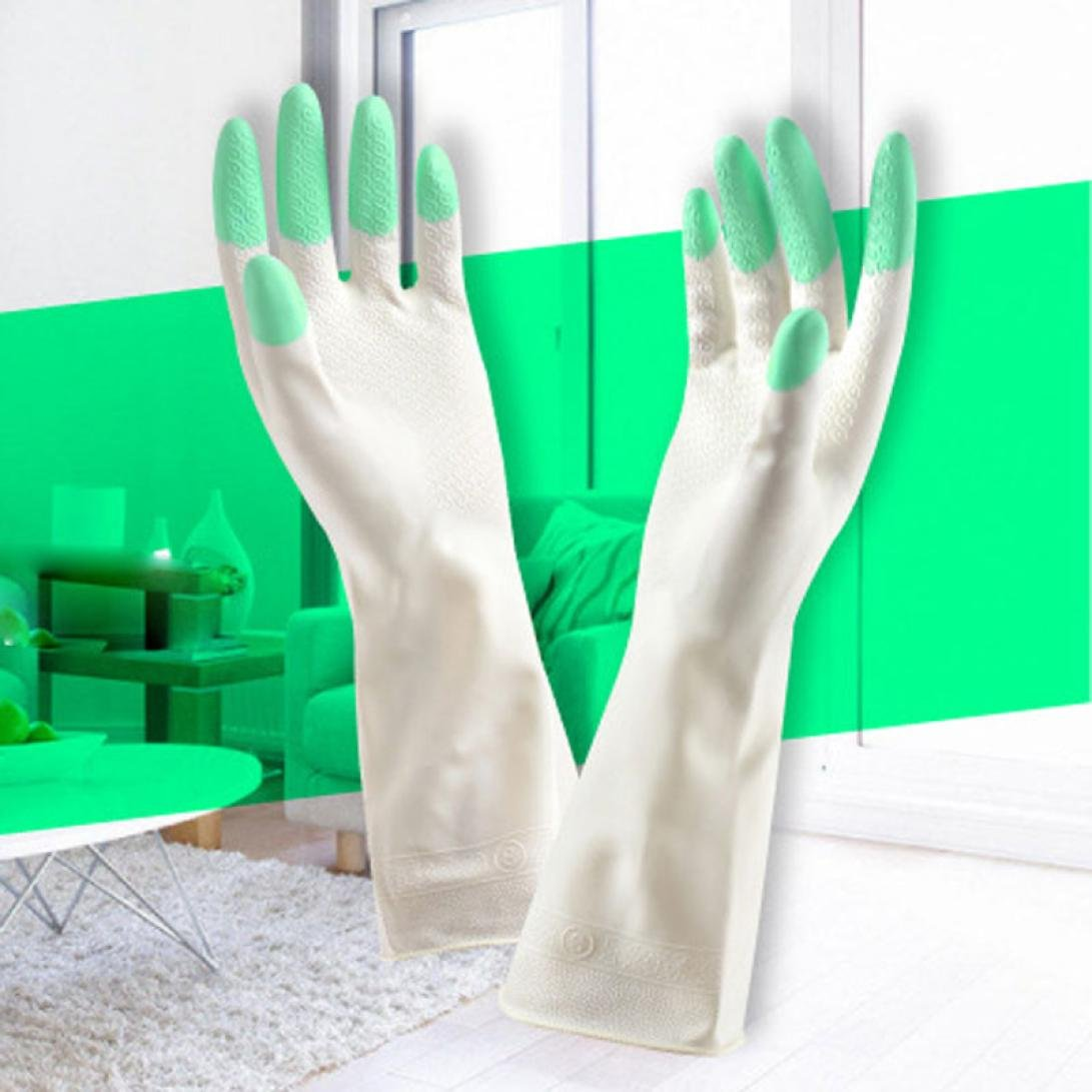 Hometom Waterproof Long Sleeve latex Kitchen Wash Dishes Dishwashing Gloves House Cleaning Home Use (Green)