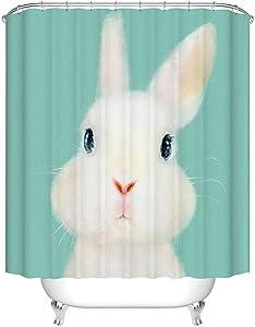 Fangkun Shower Curtain Art Bathroom Decor White Rabbits - Waterproof Polyester Fabric Bath Curtains Set - 12pcs Shower Hooks - 72 x 72 inches