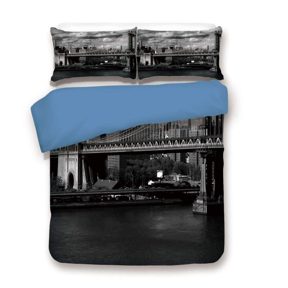 Duvet Cover Set Queen Size, Decorative 3 Piece Bedding Set with 2 Pillow Shams, Black and White Panorama of New York City Skyline with Focus on Manhattan Bridge Photo