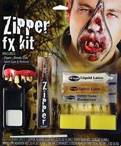 Bristol Novelty Black/White Zombie Zipper Fx Kit Make