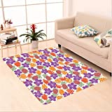 Nalahome Custom carpet Lively Bright Colored Print With Natural Leaves Hibiscus Flowers Pineapples Tropic Hawaii Multi area rugs for Living Dining Room Bedroom Hallway Office Carpet (6.5' X 10')