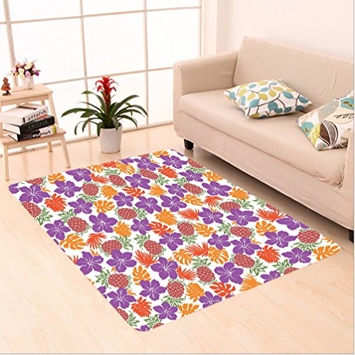 Nalahome Custom carpet Lively Bright Colored Print With Natural Leaves Hibiscus Flowers Pineapples Tropic Hawaii Multi area rugs for Living Dining Room Bedroom Hallway Office Carpet (6.5' X 10') by Nalahome