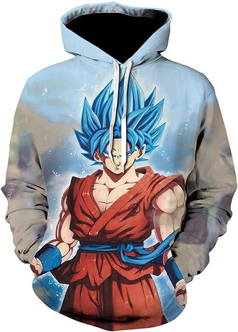 BINGXINK Felpa con Cappucio 3D Stampato Dragon Ball per Uomo Goku Disegni di Cosplay Wu Super Saiyan Pullover Cappotto Maglione per Bambini e Ragazzo