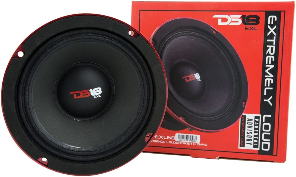 "DS18 PRO-EXL68 Loudspeaker - 6.5"", Midrange, Red Aluminum Bullet, 600W Max, 300W RMS, 8 Ohms, Ferrite Magnet - For the Peple Who Live and Breathe Car Audio (1 Speaker)"
