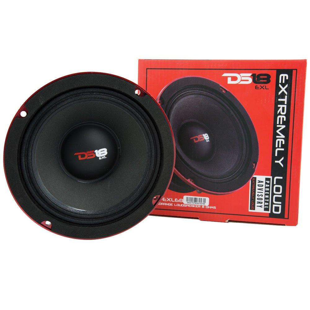 DS18 PRO-EXL68 Loudspeaker - 6.5'', Midrange, Red Aluminum Bullet, 600W Max, 300W RMS, 8 Ohms, Ferrite Magnet - For the Peple Who Live and Breathe Car Audio (1 Speaker)