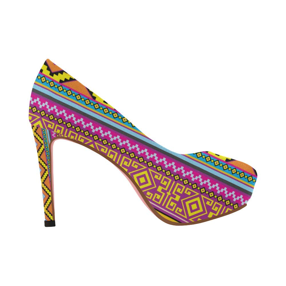 Womens high Heel Wedge Pumps Shoes Graphic Colorful Flowers Pattern prin on Size 5-11