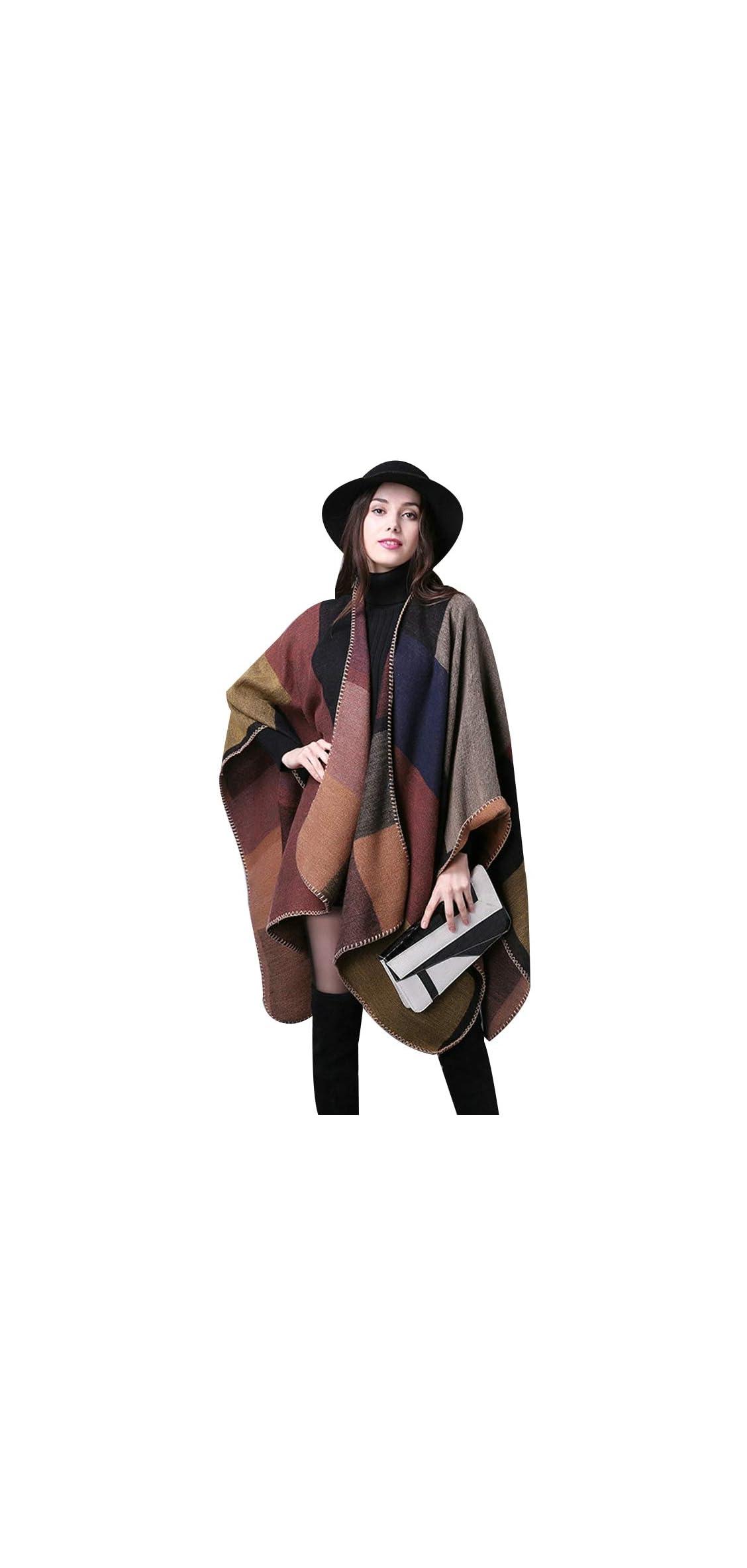 Women's Winter Reversible Oversized Blanket Poncho Cape