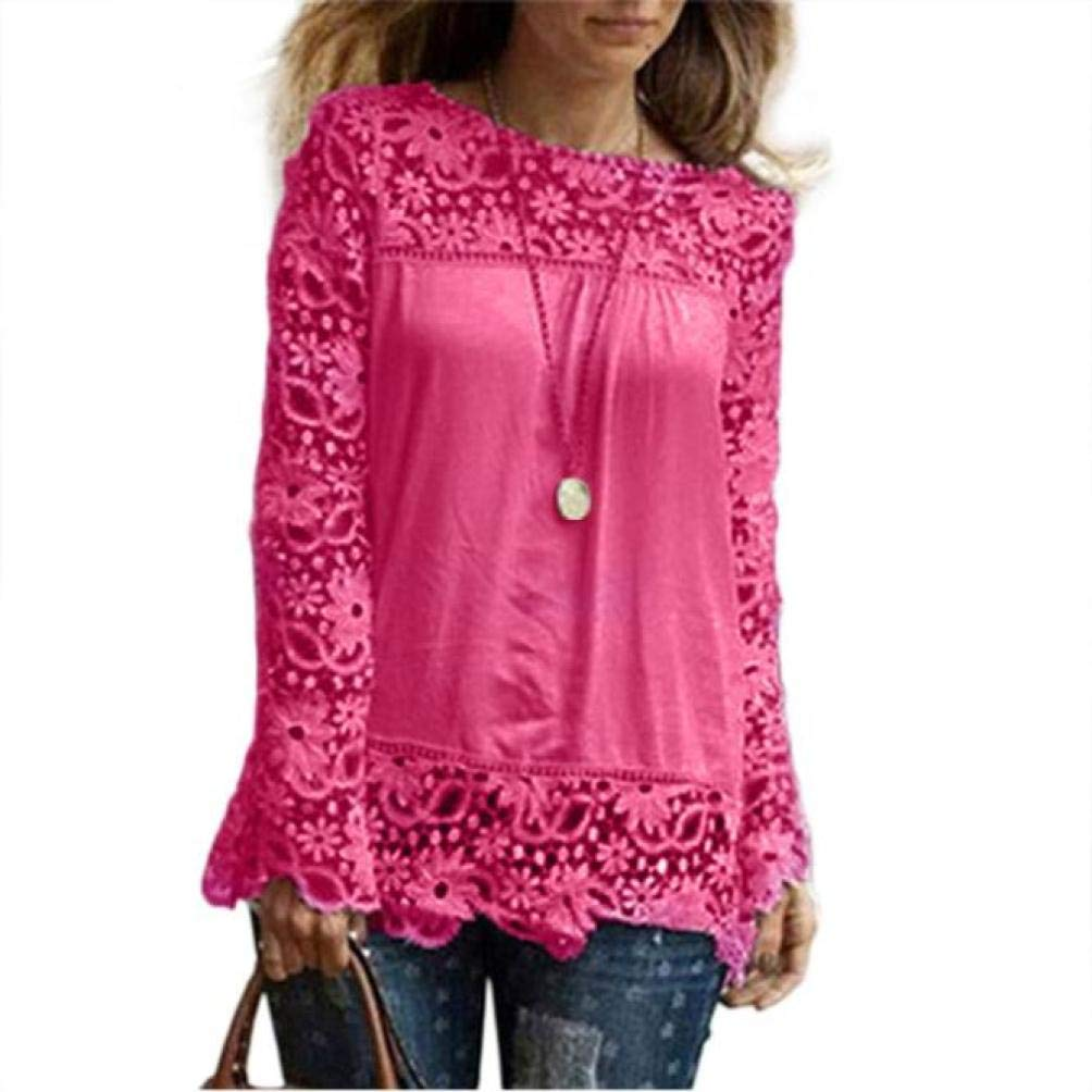 Women Plus Size Hollow Out Lace Splice Long Sleeve Shirt Casual Blouse Loose Top(hot red,Medium)