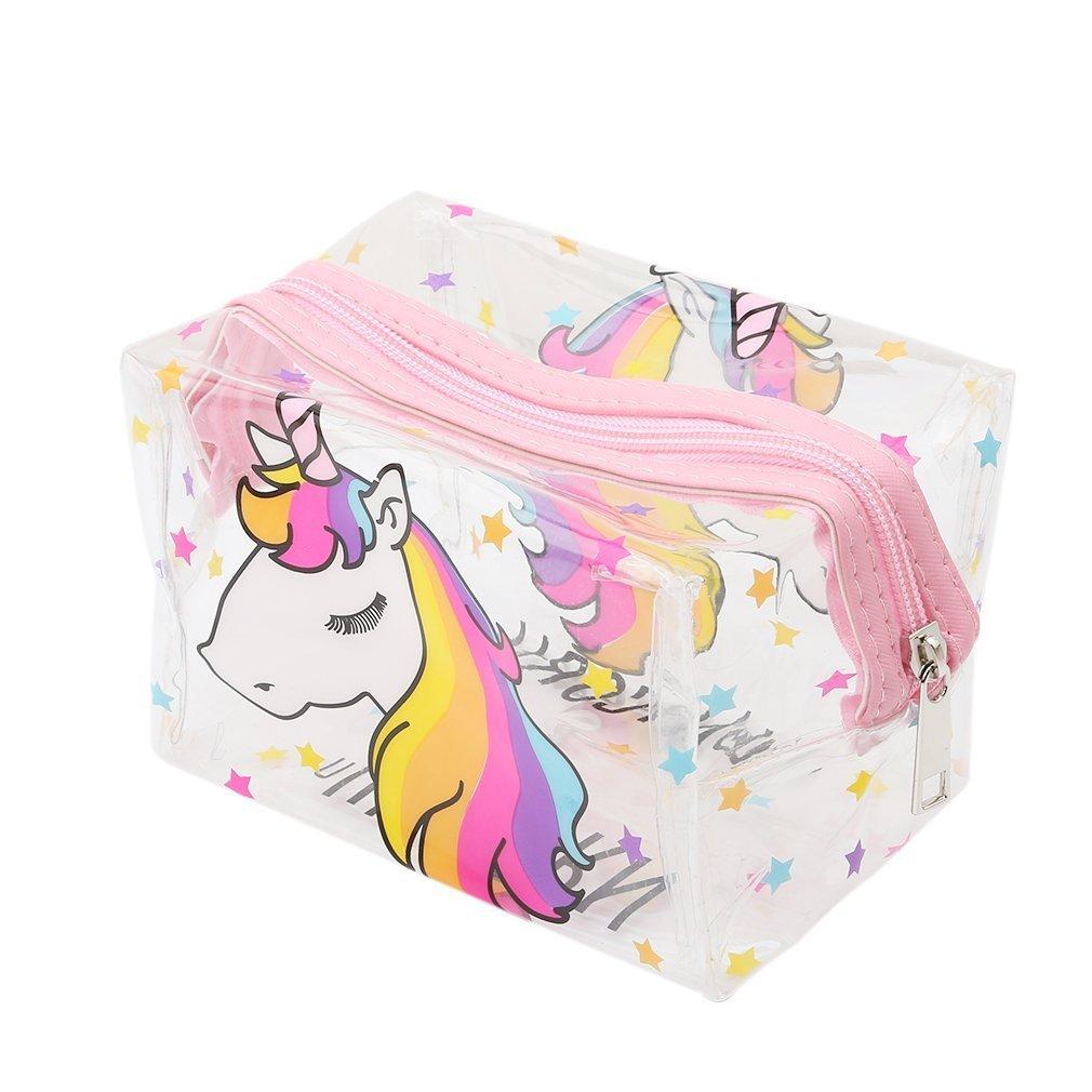 Pequeño neceser elaborado en plástico con patrón de unicornios.