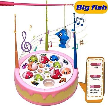 jerryvon Juego de Pesca de Pastel Mesa Juguetes con Música Spin Magnético con 4 Cañas de Pescar Educativos Juguetes para Niños Niñas 3 4 5 6 Años: Amazon.es: Juguetes y juegos