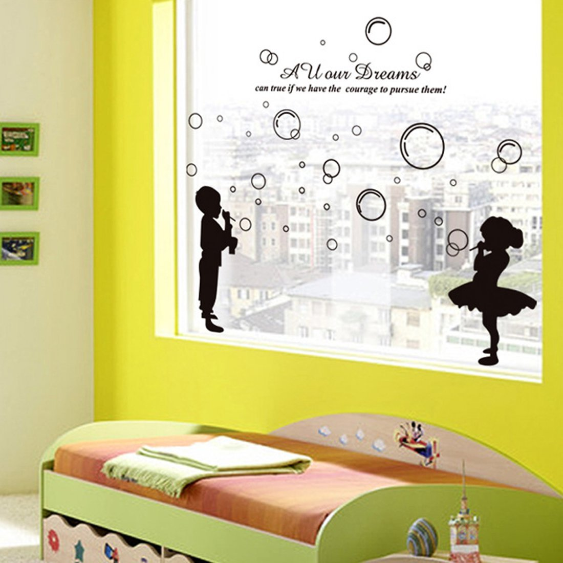 Amazon.com: Wall Sticker English Letters Boy and Girl Blowing ...