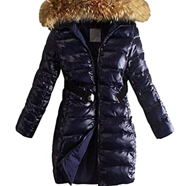 a7ccba88420 Image Unavailable. Image not available for. Colour: Wtus Womens Long Fur  Trimmed Hooded Padded Puffer Parka Ladies Winter ...