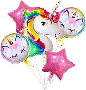 Unicorn Balloons Birthday Party Decorations - Pack of 6, Unicorn Party Supplies Large Rainbow Mylar Balloon for Unicorn Theme Bday Party Decor, First Birthday Party for Girls