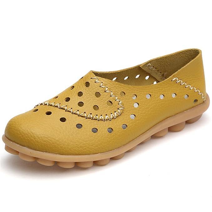 Zapatos de mujer de cuero genuino ocasionales Mocasines de conducción de mujer Zapatos de moda Mocasines Zapatos de gran tamaño Yellow 13: Amazon.es: Ropa y ...