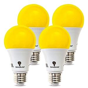 4-Pack Solray A19 Amber Yellow LED Bug Light Bulb No Blue Light Outdoor 650 Lumens 120V E26 Medium Base LED 9.5 -Watt (40-watt Replacement) A19 Outdoor Bug LED Warm Light Bulb