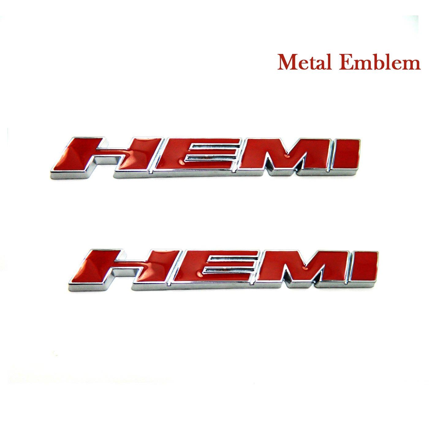 LZLRUN 2pcs Red B186 HEMI Emblem Decal Badge Sticker Dodge Charger Ram 1500 Challenger Jeep Grand Cherokee