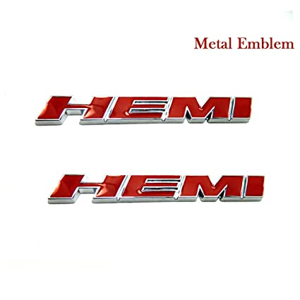 Amazon Com Lzlrun 2pcs Red Metal Hemi Emblem Decal Badge Sticker