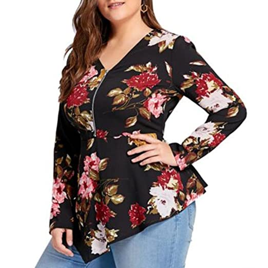 Womens Tops,Plus Size ANJUNIE Printed Long Sleeve Zipper V-Neck Chiffon Blouse(