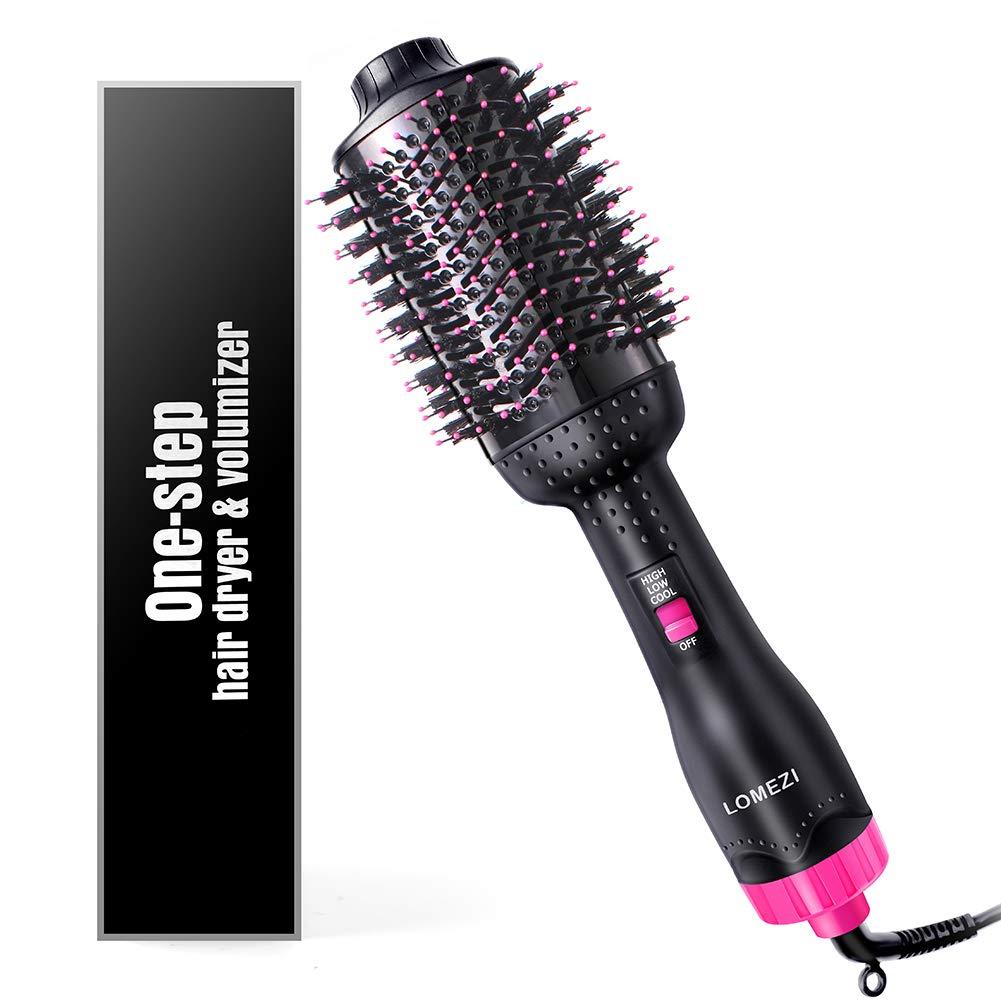 Hair Dryer Brush, LOMEZI Hot Air Brush, One Step Hair Dryer & Volumizer, 3 in1 Anti-scald Negative Ionic Ceramic Dryer Brush for Dry & Straighten & Curl, Smooth Frizz by LOMEZI