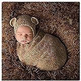 Lppgrace Newborn Baby Photography Prop Boy Girl Crochet Costume Outfits Bear Hat Sleeping Bag