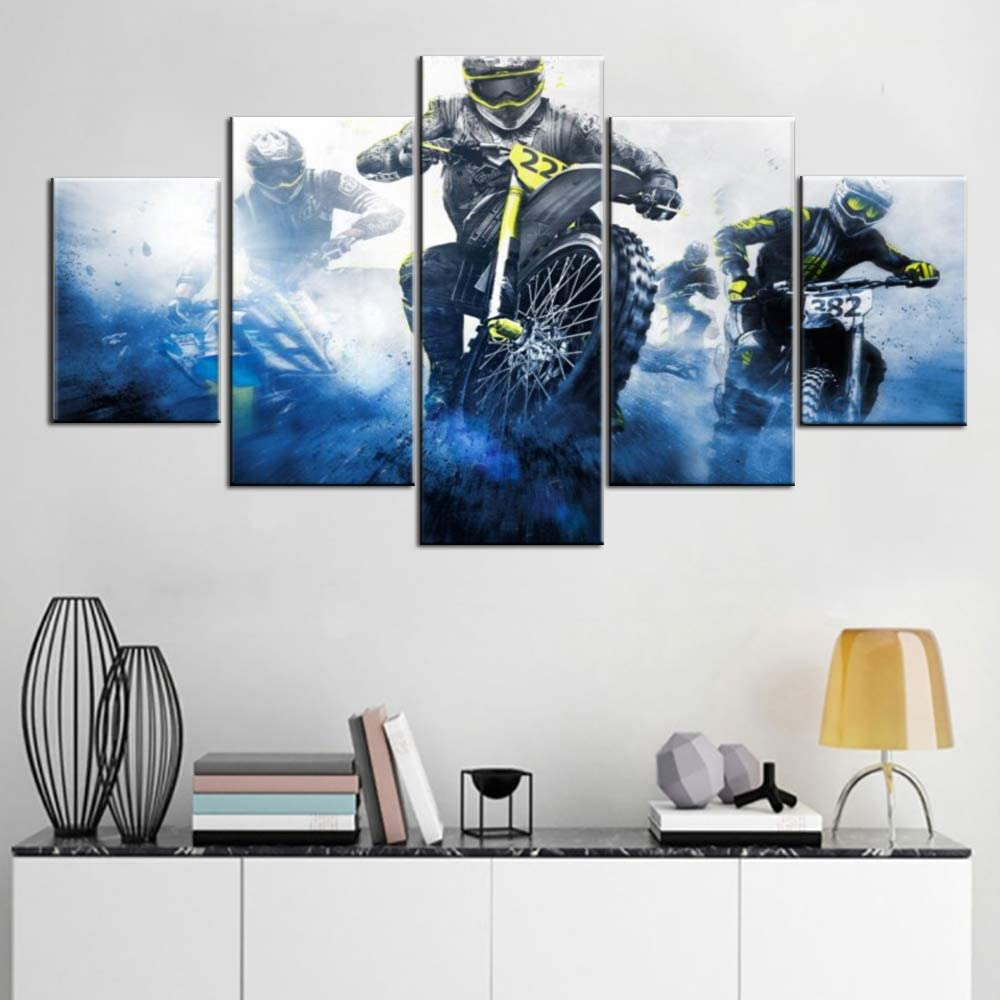 5 Piece Canvas Wall Art Supercross Championship Pictures for Living Room Motorcycle Grunge Paintings Motor Bike Blue Artwork Rustic House Decor Framed Ready to Hang Posters and Prints(60''Wx 32''H)