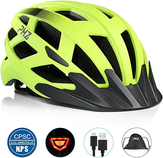 PHZ. Adult Bike Helmet CPSC Certified with Rechargeable USB Light