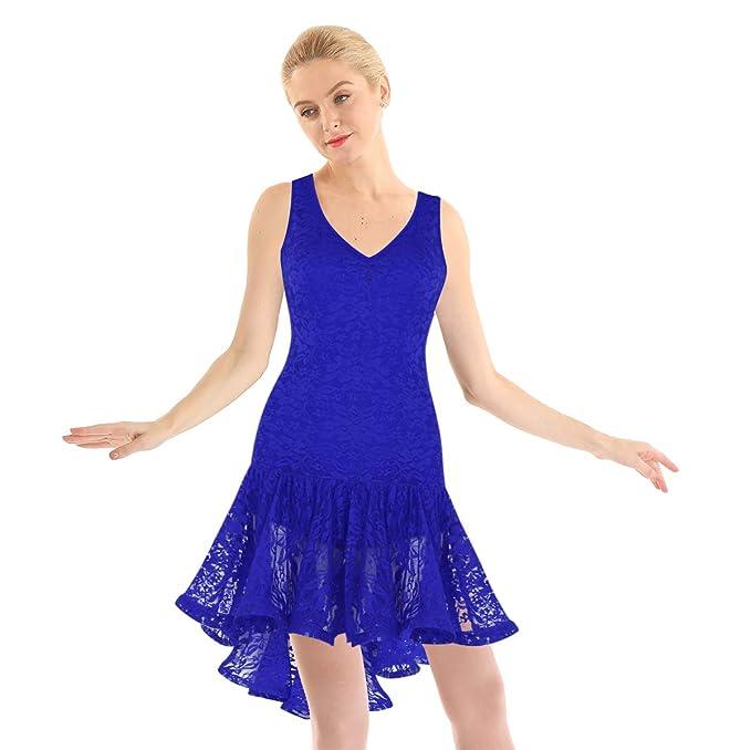 Agoky Vestido de Baile Latino para Mujer Vestido Encaje de ...